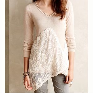 Anthro Angel of the North Beige Lace Sweater Top